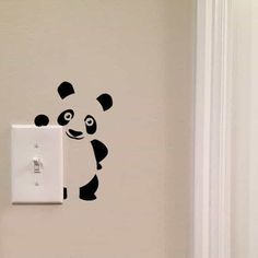 Panda Light Switch Cute Vinyl Wall Decal by imprinteddecals Wall Painting Decor, Wall Decor, Room Decor, Wall Decal Sticker, Wall Stickers, Wall Drawing, Painted Boards, Creative Walls, Paint Designs
