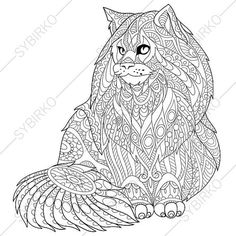 adult coloring pages maine coon cat zentangle doodle coloring pages for adults digital illustration instant download print