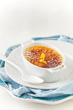Yuzu crème brûlée (without vanilla beans)  - a  luscious  Franco-Japonais  dessert.  Yuzu is a citrus  fruit originating from East Asia - closely resembling that of the grapefruit, with overtones of mandarin orange.