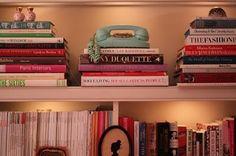 Arranged bookshelves - note the magazines