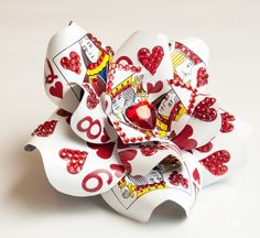 Alice in Wonderland Playing Card Rhinestone Heart Hair Flower Fascinator. $75.00, via Etsy.