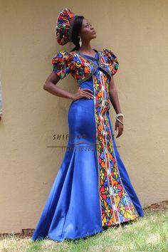 Gugu - Shifting Sands Traditional African Ndebele inspired mermaid wedding dress with bolera jacket and hat African Wedding Dress, African Print Dresses, African Print Fashion, African Dress, Fashion Prints, African Weddings, African Prints, South African Traditional Dresses, Traditional Wedding Dresses