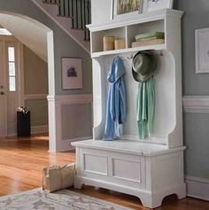 Naples White Entryway Hall Tree With Storage Shoe Storage Bench Entryway, Entryway Coat Rack, Closet Shoe Storage, Hallway Storage, Shoe Racks, Storage Room, White Bench Entryway, Entryway Hall Tree, Entry Bench