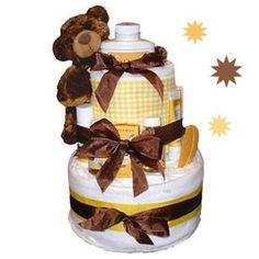 Burts Bees Brown Bear Baby Shower Diaper Cake Centerpiece #food #recipe #halloween #thanksgiving #BlackMagicCake