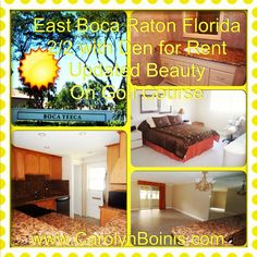 Boca Raton Florida Condo for rent. Unfurnished 2/2 with den updated with granite kitchen and remodeled baths directly on golf course. 4 seasons enclosed patio. East Boca Raton. Carolyn Boinis Boca Raton Real Estate Agent with REMAX Services www.CarolynBoinis.com 561-213-3688 Boca Teeca.