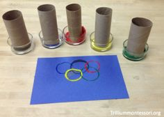 Olympic Rings Paper Tube Paint Stamping  - pinned by @PediaStaff – Please Visit ht.ly/63sNtfor all our pediatric therapy pins