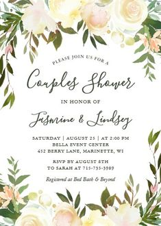 """Ivory White Floral Greenery Wedding Couples Shower Invitation. Size: 5"""" x 7"""" Make custom invitations and announcements for every special occasion! Choose from twelve unique paper types, two printing options and six shape options to design a card that's perfect for you. Size: 5"""" x 7"""" (portrait) or 7"""" x 5"""" (landscape) Standard white envelope included Add photos and text to both sides of this flat card at no extra charge Use the """"Customize it!"""" Couples Wedding Shower Invitations, Wedding Couples, Custom Invitations, Colored Envelopes, White Envelopes, I Do Bbq, Couple Shower, Ivory White, Envelope Liners"""