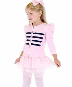 Loving this Pink Double-Breasted Zip-Up Jacket & Skirt - Toddler & Girls on #zulily! #zulilyfinds