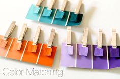 paint chip color-matching activity ~ Simply grab two matching paint chips, cut one up and glue each color to a clothespin while keeping the other intact. The idea is to mix them all up and then hand them over to your kiddo to match up again.