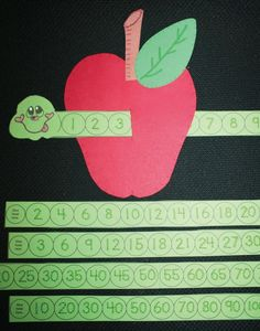 """SERIES GUSANO Y MANZANA FREE Wormy Apple. Help students learn to count and recognize numbers with a worm """"slider."""" Also includes a worm for skip counting by and Apple Activities, Math Activities For Kids, Fun Math, Shape Activities, Apple Games, Counting Activities, Numbers Preschool, Math Numbers, Preschool Crafts"""