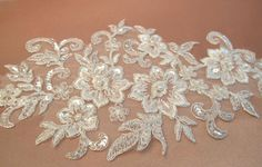 Bridal Silver Embroidered Lace Applique  bridal dress by gebridal, $15.00