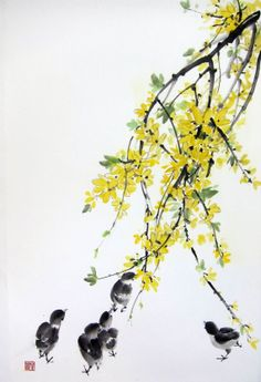 Forsythia and chicks 1  Japanese Ink Painting on Rice by Suibokuga, €78.00