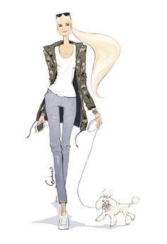 Fashion illustration of a blonde woman with a Poodle dog by Erika Reponen Art.
