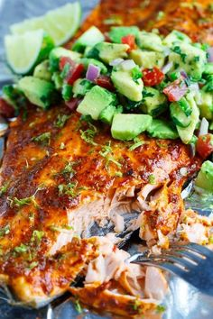 Chipotle Lime Salmon with Avocado Salsa. Only a few ingredients are needed for this healthy salmon recipe and they are all clean eating approved! Pin now to make this healthy seafood dish for dinner later. Lime Salmon Recipes, Fish Recipes, Seafood Recipes, Mexican Food Recipes, Cooking Recipes, Healthy Recipes, Vegan Salmon Recipe, Grilled Salmon Recipes, Bon Appetit