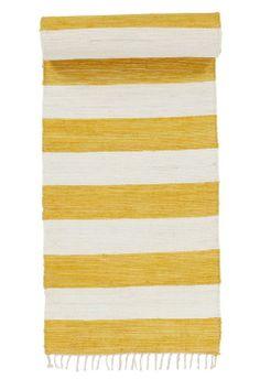 Jotex Keltainen/valkoinen CINA-räsymatto, raidallinen 70x200 cm