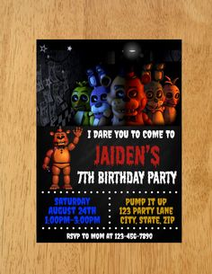 Five Nights At Freddy's Birthday Party Invitation, Five Nights at Freddy's Invitation