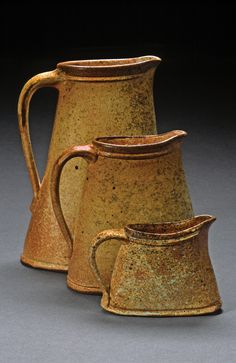 George Lowe's pitchers. Lowe was featured in the June/July/August 2012 issue of Ceramics Monthly as part of the Working Potters focus.