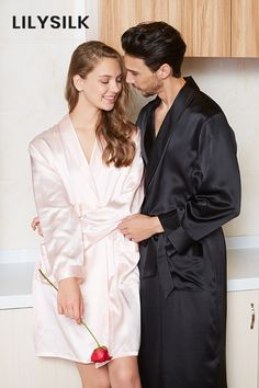 This silk couple matching sleepwear made from high-quality silk, providing you a romantic and sweet feeling in your whole life.