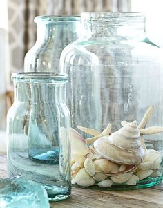 Top Beach Jar Decor Ideas: http://www.completely-coastal.com/2013/05/beach-jar-ideas.html