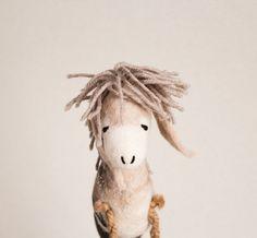 Brunhilda  Felt Donkey. Art Toy. Felted Toy. Felt by TwoSadDonkeys