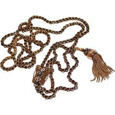 Antique Victorian 14k Taille D'Epargne Sapphire Slide, Tassel, Watch Chain Necklace, 49.5 Grams