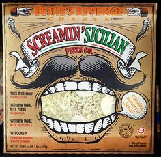 Screamin Sicilian Pizza - punch out mustache on back of packaging is the best part!, who's having pizza for lunch #packaging PD