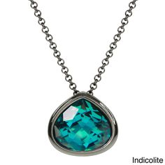 Adee Waiss Black Rhodium-plated Crystal Pear Shape Pendant (