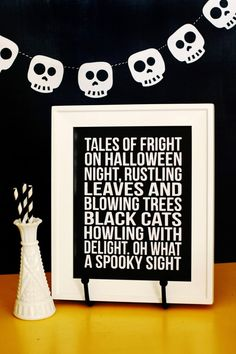Tales of Fright Halloween decor + skull banner