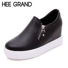 HEE GRAND 2016 New Women Boots Wedges PU Aritificial Leather Ankle Boots High Platform Shoes Woman Size Plus 35-39 XWX3535
