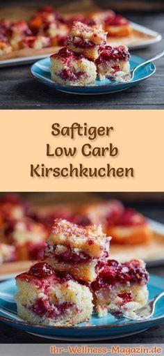 Rezept für einen Low Carb Kirschkuchen - kohlenhydratarm, kalorienreduziert, ohne Zucker und Getreidemehl