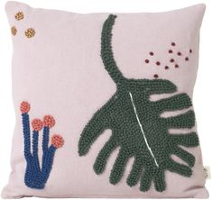 Reduced sofa cushions & decorative cushions - Feuille cushion / with embroidery applications – 40 x 40 cm – Ferm Living – Pink, Multicolore - Stitch Patterns, Knitting Patterns, Pink Leaves, How To Start Knitting, Diy Headband, Hair Accessories For Women, Hot Pads, Decorative Cushions, Knitted Bags