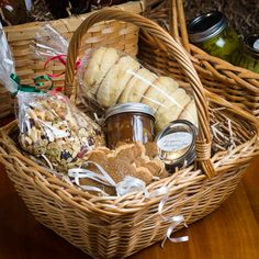 Prepare homemade breakfast basket - muffins, jams, coffee, granola, bagels, cream cheese, etc.