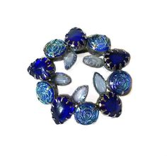 Vintage Brooch Blue Glass Cabochons by MargsMostlyVintage on Etsy, $25.00