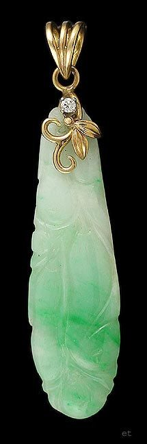Pretty Carved Jade 14K Yellow GOLD & DIAMOND by SalonClassique