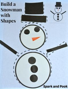 """Use these free printables to help kids """"build"""" a snowman with shapes."""