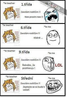 Kupodivu mě nejvíc pobavil le teacher a le me :DD Funny Cute, The Funny, Derp Comics, English Jokes, Some Jokes, Sad Stories, Wattpad, Funny Pins, Man Humor