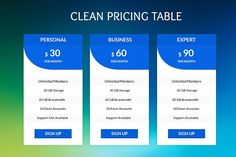 Clean Pricing Tables by Youme Techworld on @creativemarket