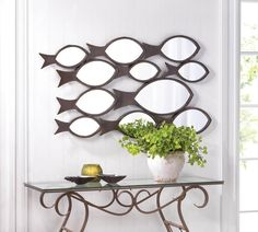 Large Wall Mirror Fish Swimming Hanging Art Home Decor Iron Framed Metal Fishing #HomeLocomotion