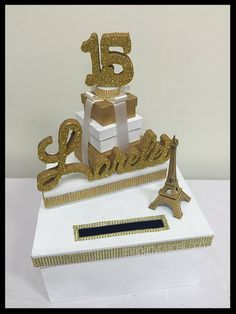 Paris Theme Sweet 16 Card Box! GORGEOUS!! Eiffel Tower and Box Stack! by ThePartyPlaceLI