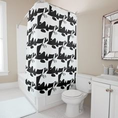 Shop dachshund bull terrier Doodles Shower Curtain created by Devil_Behind_You. Funny Shower Curtains, Custom Shower Curtains, Black Dachshund, Flower Shower Curtain, Black And White Flowers, Black Curtains, White Chic, Bull Terrier, Colorful Backgrounds