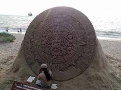 Sand sculpture of the Mayan calendar.