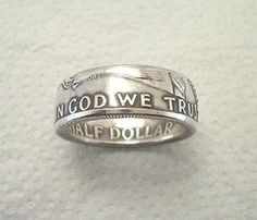 Coin Ring Franklin Silver Half Dollar Place Your by SpiritualFlyer, $52.50...This guy's work is amazing!!!