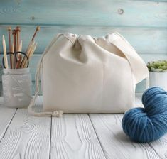 Canvas Project Bag for Knitting Crochet drawstring knitting Simple Designs, Drawstring Backpack, Bucket Bag, Knit Crochet, Canvas, Knitting, Pattern, Projects, Handmade