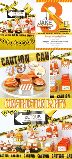 i dig you construction themed birthday party - MJ was sitting beside me when I came across this, and he went crazy for it
