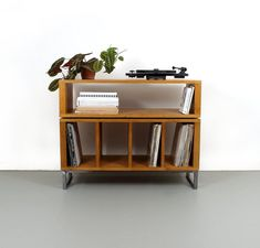 Stacked Minimalist Record Storage Media Unit Vinyl Storage Vinyl Record Cabinet, Vinyl Record Storage, Lp Storage, Custom Furniture, Furniture Design, Pallet Tv Stands, Tv Stand Console, Media Unit, Wooden Chest