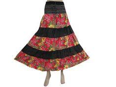 "Women Bohemian Skirt, Gypsy Boho Black Red Floral Print Cotton Skirt, Patchwork Long Skirt 36"" Mogul Interior,http://www.amazon.com/dp/B00A65YYG0/ref=cm_sw_r_pi_dp_HPW4qb0ES5Y01B2V"