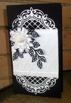 Black & White using Sue Wilson dies,Mosaic leaves and Lattice Arched Adornment. Fancy Fold Cards, Folded Cards, Making Greeting Cards, Greeting Cards Handmade, Spellbinders Cards, Wedding Anniversary Cards, Marianne Design, Handmade Birthday Cards, Pretty Cards