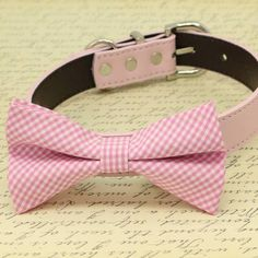 Pink Plaid dog Bow tie collar, high quality, Wedding Pet Accessory, birthday gift