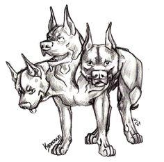 Cerberus Sketch | Pit-Bull Cerberus by Kyonovus