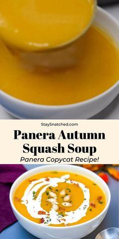 Autumn Squash Soup Recipe, Autumn Soup Panera Recipe, Recipe For Butternut Squash Soup, Hubbard Squash Soup Recipe, Panera Vegetable Soup Recipe, Copycat Panera Squash Soup Recipe, Butter Ut Squash Recipes, Buttercup Squash Soup Recipe, Autumn Squash Recipes